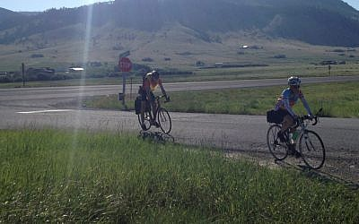 Participants in the Hazon Cross-USA ride biking across Montana, June 2012. (photo credit: Courtesy Hazon/JTA)