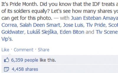 Likes, shares, and comments on the IDF's Gay Pride month photo (photo credit: via Facebook)