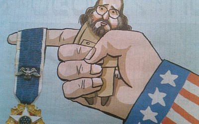 Photo of political cartoon in Maariv on June 14, 2012.