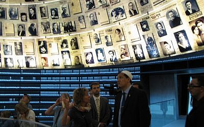 Hassen Chalghoumi at the Hall of Names in Yad Vashem, June 2012 (photo credit: Elhanan Miller / Times of Israel)