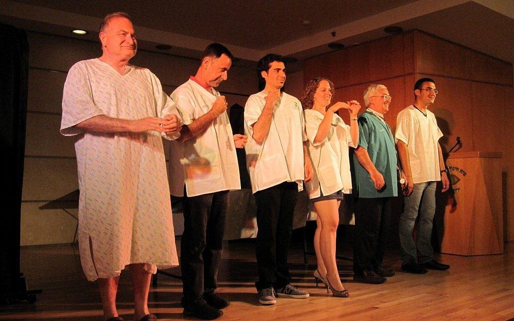 Taking their bows (from left): Benny Ravid, Shai Sorek, Shahar Kostin, Michal Stein, Shuky Fridman and Eli Dejurayev (photo credit: Courtesy Michal Stein)