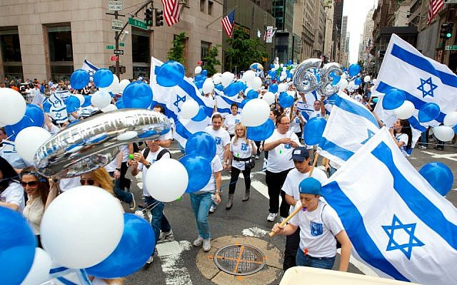 Participants marching at the Celebrate Israel Parade in New York, June 2011. (photo credit: Courtesy Celebrate Israel/JTA)