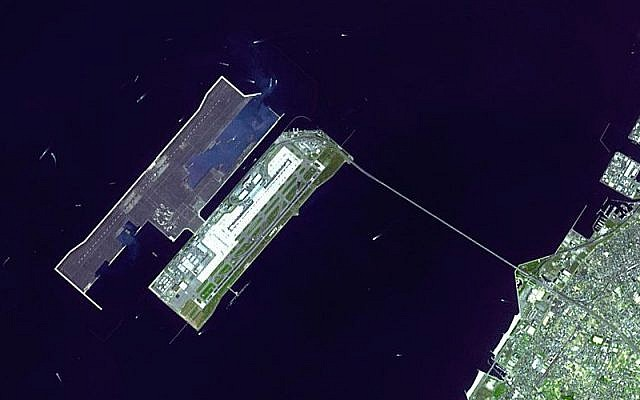 Satellite image of Kansai International Airport in Osaka Bay in Japan (photo credit: courtesy of NASA Earth Observatory)