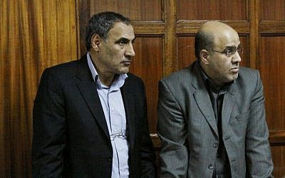 Iranian nationals Sayed Mansour Mousavi, left, and Ahmed Abolfathi Mohammed in court in Nairobi last month (photo credit: AP/Khalil Senosi)