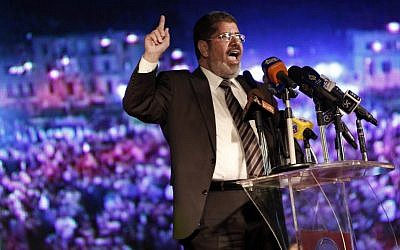 Egyptian President-elect Mohammed Morsi (photo credit: AP Photo/Fredrik Persson)