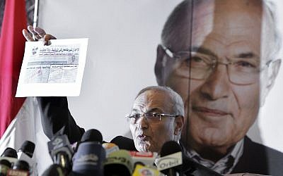 Ahmed Shafiq presents his case against the Muslim Brotherhood (photo credit: AP Photo/Amr Nabil)