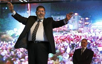 Mohamed Morsi at a rally in May. (photo credit: AP/Fredrik Persson)
