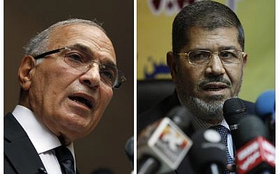 This combination photo shows Egyptian presidential candidates, from left, Ahmed Shafiq and Mohammed Morsi (photo credit: AP/Khalil Hamra; Nasser Nasser, File)
