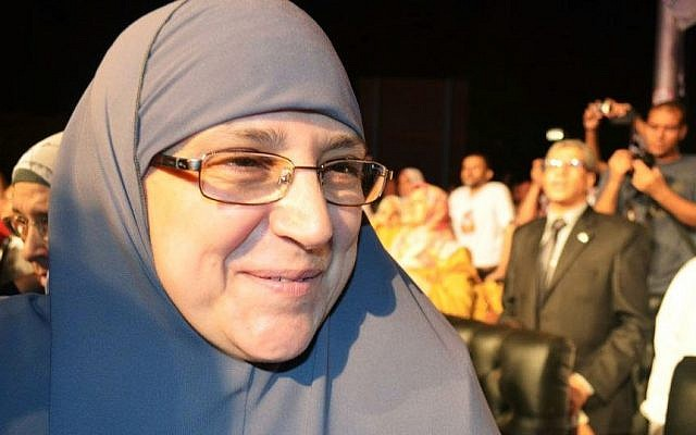 Naglaa Ali Mahmoud attends a campaign rally for her husband, Mohammed Morsi, in Cairo last month. (photo credit: AP/Ahmad Hammad)
