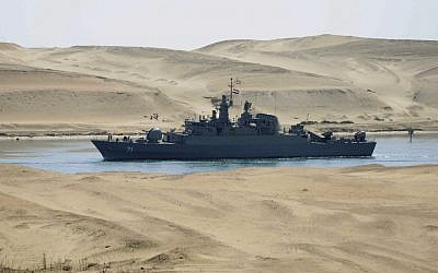 Iranian navy frigate IS Alvand passing through Egypt's Suez Canal in February 2011. (AP, File)