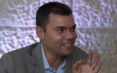 US author Peter Beinart in Jerusalem on June 21, 2012. Beinart considers himself a supporter of Israel. (photo credit: AP Photo/Sebastian Scheiner)