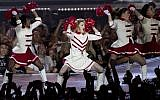 Pop icon Madonna performs at the Ramat Gan stadium near Tel Aviv on May 31, 2012. (photo credit: Ariel Schalit/AP)