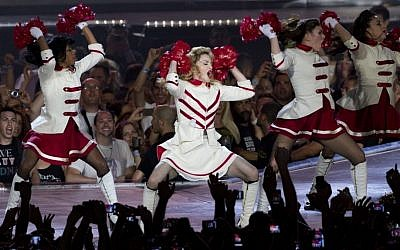 Pop icon Madonna performs at the Ramat Gan stadium near Tel Aviv on May 31, 2012. (photo credit: Ariel Schalit/AP)