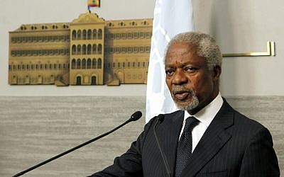 Kofi Annan, the UN-Arab League Joint Special Envoy for Syria. (photo credit: AP/Hussein Malla)