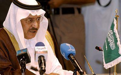 Prince Nayef bin Abdul Aziz of Saudi Arabia speaks during the GCC Interior Ministers meeting in Kuwait, in October 2004 (photo credit: AP/Gustavo Ferrari)