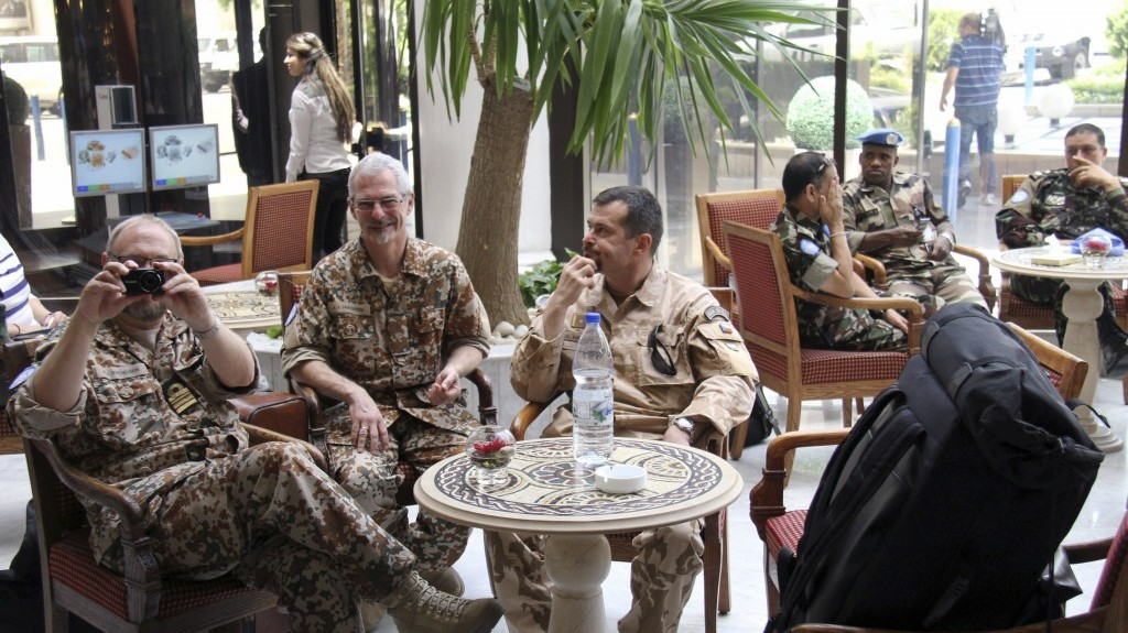 Un Observers Are Seen At The Dama Rose Hotel In Damascus Syria On Sunday As