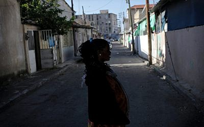 A pregnant migrant woman outside a shelter in south Tel Aviv. (photo credit: Tamir Kalifa)