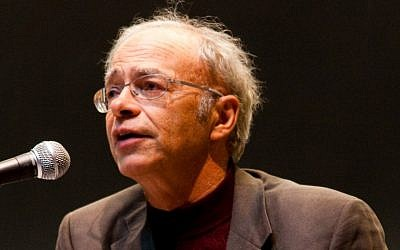 Peter Singer speaking at a Veritas Forum event on the Massachusetts Institute of Technology campus, March 2009. (photo credit: Joel Travis Sage via CC/JTA)