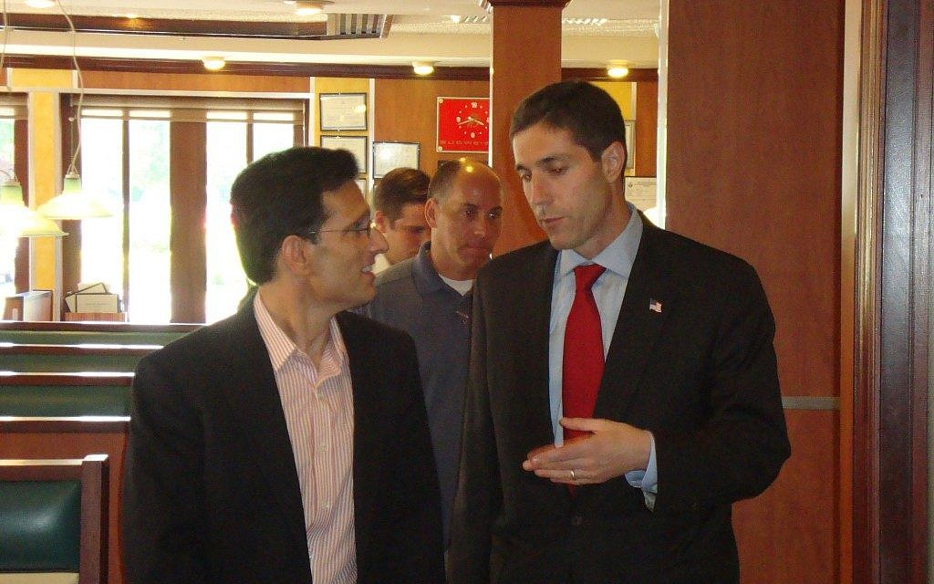 Randy Altschuler, right, a Republican candidate in the race for New York's first congressional district, campaigning with Rep. Eric Cantor, the House Majority Leader and the only Republican Jewish lawmaker in Congress, during Altshuler's losing 2010 race against Rep. Tim Bishop. (photo credit: Courtesy Randy Altschuler for Congress/JTA)
