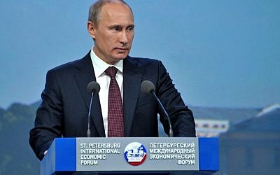 Russian President Vladimir Putin speaking at the economic forum in St. Petersburg, Russia on June 21, 2012. (photo credit: Alexei Nikolsky, Presidential Press Service, AP /RIA-Novosti,)