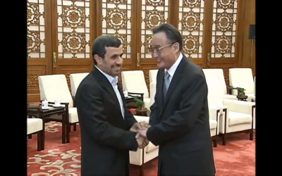 Image capture of Presidents Hu Jintao of China and Mahmoud Ahmedinejad of Iran meeting in Beijing on Friday from a YouTube video.