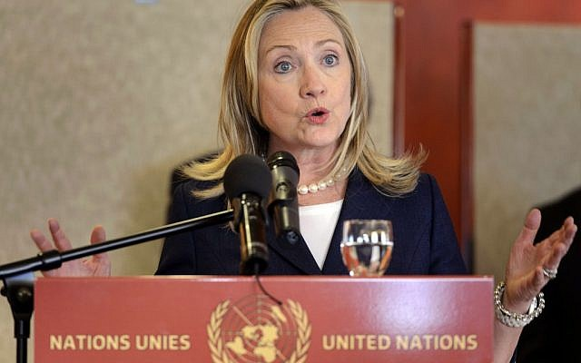 US Secretary of State Hillary Rodham Clinton after a meeting of the Action Group for Syria at the European headquarters of the United Nations, in Geneva, Switzerland in June 2012. (photo credit: AP/Laurent Gillieron, Pool)