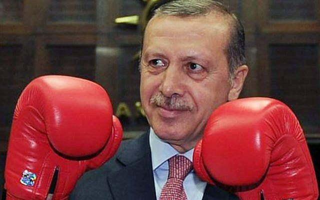 Recep Tayyip Erdogan poses with boxing gloves to lawmakers and supporters of his ruling Justice and Development Party at the parliament in Ankara, June 2012. (photo credit: AP)