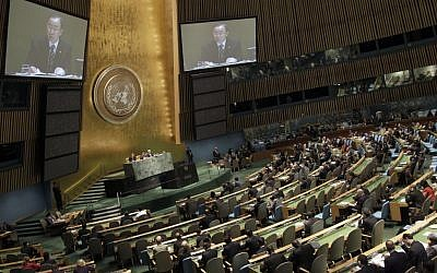UN Secretary-General Ban Ki-moon addresses the General Assembly regarding the situation in Syria in June (photo credit: Mary Altaffer/AP)