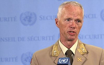 Maj. Gen. Robert Mood, head of the UN observer mission in Syria, speaks to reporters after briefing the Security Council Tuesday on the situation in Syria. (photo credit: Mary Altaffer/AP)