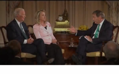 Image capture of James A. Baker III and US Secretary of State Hillary Clinton from their interview with Charlie Rose (right).