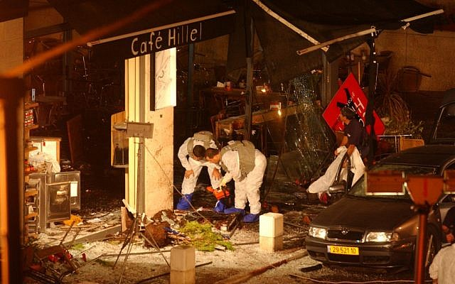 The scene of a suicide bombing, engineered by Hamed, at the Cafe Hillel coffee shop in Jerusalem, September 9, 2003 (photo credit: Flash90)