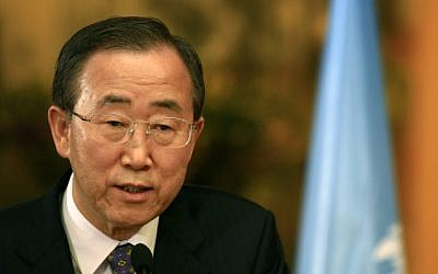 UN Secretary-General Ban Ki-moon (photo credit: Nati Shohat/Flash90/File)