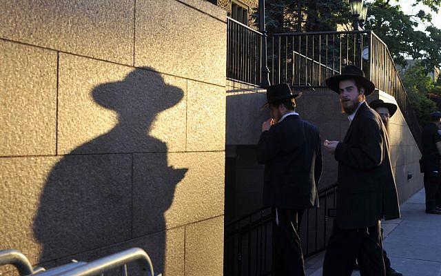 Ultra-orthodox men in Brooklyn, New York (illustrative photo: Serge Attal/Flash90)