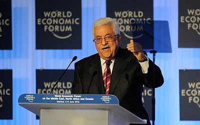 PM Mahmoud Abbas speaks at the opening plenary of the World Economic Forum on the Middle East, North Africa and Eurasia in Istanbul, June 5,  2012.  (photo credit: CC-BY-SA World Economic Forum/ Norbert Schiller, Flickr)