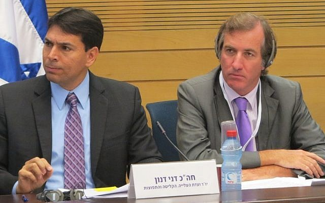MK Danny Danon, left, and French Ambassador Christophe Bigot discuss anti-Semitism in the Knesset (photo credit: courtesy)