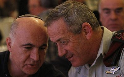 IDF Chief of Staff Benny Gantz with Yoram Cohen, head of the Shin Bet (Israel Security Agency) in Jerusalem in December 2011. (Photo credit: Miriam Alster/Flash90)