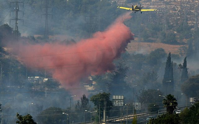 Firefighters teams seen fighting a forest fire in the outskirts of Jerusalem on Tuesday (Nati shohat /Flash90)