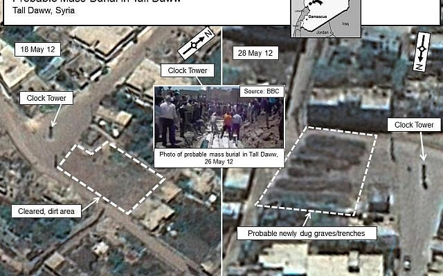 Satellite images showing the village of Tall Daww before and after the May 25 massacre (photo credit: Digital globe/US government)