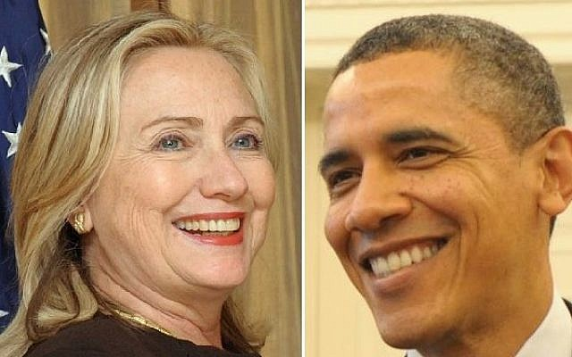 Hillary Clinton and Barack Obama (photo credit: Flash90)