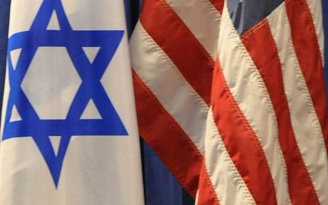 Israeli and US flags (Moshe Milner/GPO/Flash90)