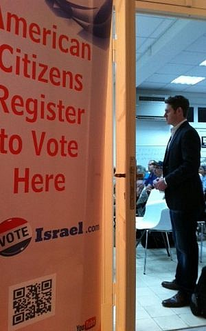 American citizens registering to vote at an 'iVoteIsrael' event in Tel Aviv (photo credit: courtesy of IVoteIsrael.com)