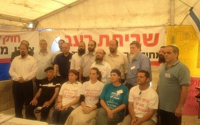The pro-settlement hunger-strikers inside the protest tent (Photo credit: Mitch Ginsburg)