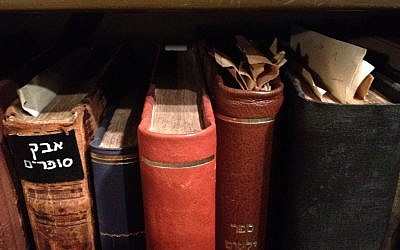 Agnon's well-thumbed and marked books (photo credit: Jessica Steinberg)