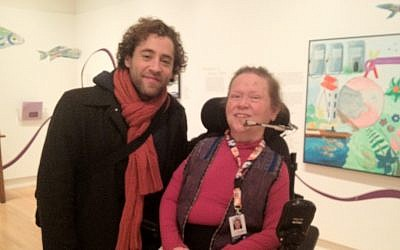 Rubenfeld and Snow at the exhibition of her artwork at the Royal Ontario Museum. (photo credit: Renee Ghert-Zand)