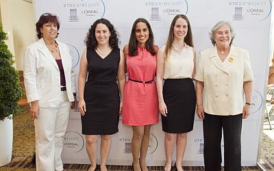 Left to right: Professor Hagit Yaron-Meser, Chairperson of the Open University; Prize winners  Osnat Zomer-Penn, Dr. Efrat Shamah-Yaakovi , and Gili Bisker; and Ruth Arnon, director of the Israeli Academy of Sciences (Photo credit: Lamm and Velich Photo Studio)