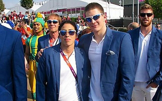 Amit Ivri (left) with fellow swimmer Imri Ganiel (photo credit: courtesy of Israel Olympic Committee)