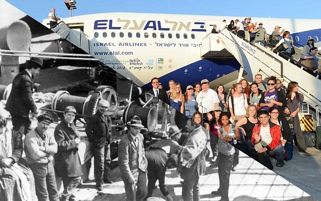 Immigrants the the United States aboard the SS Friedrich der Grosse (left) and American immigrants to Israel after deplaning from a Nefesh B'Nefesh charter flight. (photo credit: public domain via Wikimedia Commons/Shahar Azran/Nefesh B'Nefesh)