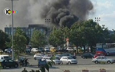 The scene of the attack in the Bulgarian city of Burgas (photo credit: Channel 10 screen capture)