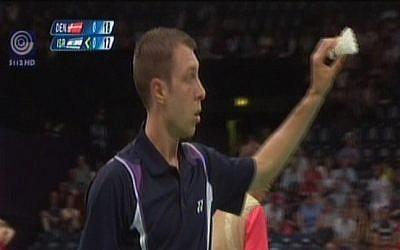 Israeli badminton star Misha Zilberman playing at the 2012 Olympics.  (screen capture: Channel 1)