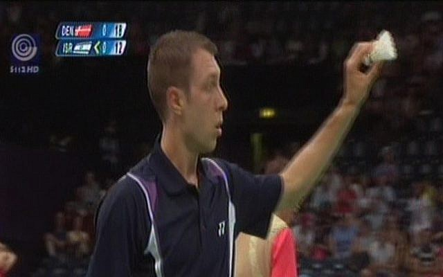 Israeli badminton star Misha Zilberman playing at the 2012 Olympics.  (screen capture: Channel 1)